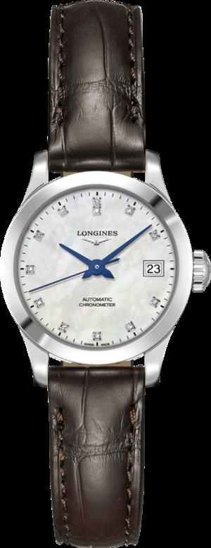 Damenuhr Longines Record Automatik Chronometer 26mm mit Diamanten, perlmuttfarbenem Zifferblatt und Alligatorenleder-Armband