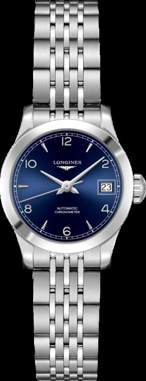 Damenuhr Longines Record Automatik Chronometer 26mm mit blauem Zifferblatt und Edelstahlarmband