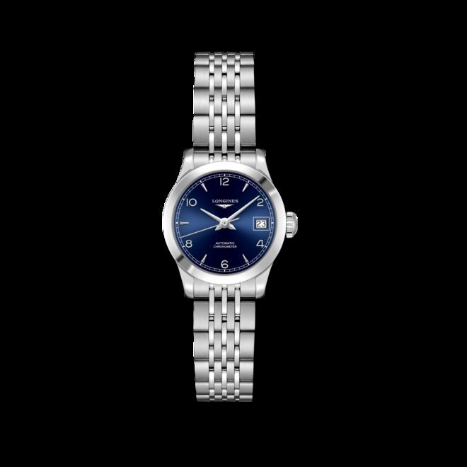 Damenuhr Longines Record Automatik Chronometer 26mm mit blauem Zifferblatt und Edelstahlarmband bei Brogle
