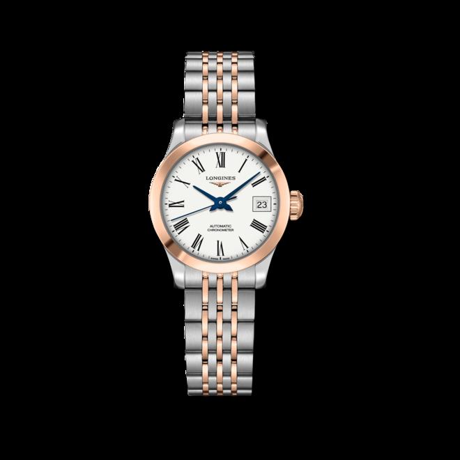 Damenuhr Longines Record Automatik Chronometer 26mm mit weißem Zifferblatt und Edelstahlarmband bei Brogle