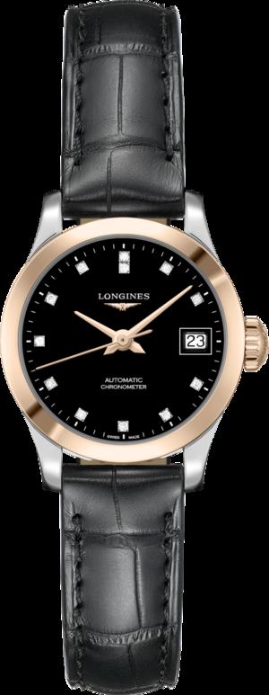 Damenuhr Longines Record Automatik Chronometer 26mm mit Diamanten, schwarzem Zifferblatt und Alligatorenleder-Armband