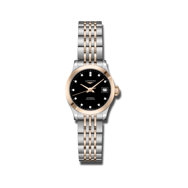 Damenuhr Longines Record Automatik Chronometer 26mm mit Diamanten, schwarzem Zifferblatt und Edelstahlarmband bei Brogle
