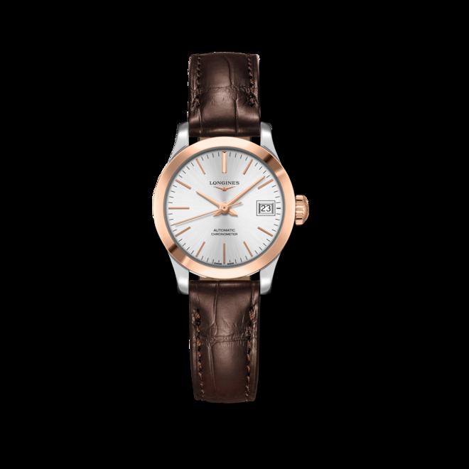 Damenuhr Longines Record Automatik Chronometer 26mm mit silberfarbenem Zifferblatt und Alligatorenleder-Armband bei Brogle