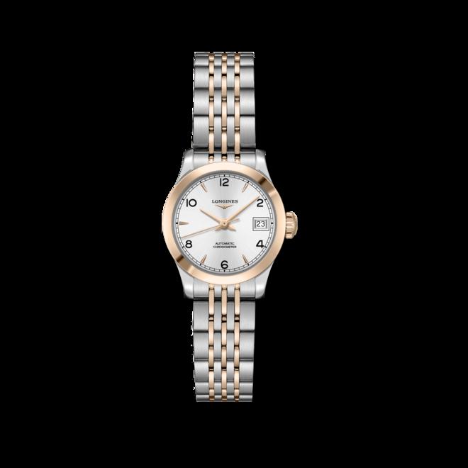 Damenuhr Longines Record Automatik Chronometer 26mm mit silberfarbenem Zifferblatt und Edelstahlarmband bei Brogle