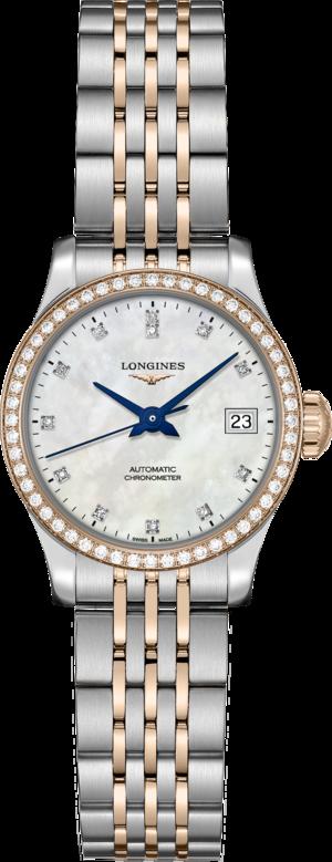 Damenuhr Longines Record Automatik Chronometer 26mm mit Diamanten, perlmuttfarbenem Zifferblatt und Edelstahlarmband
