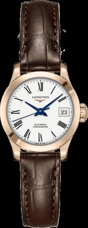 Damenuhr Longines Record Automatik Chronometer 26mm mit weißem Zifferblatt und Alligatorenleder-Armband