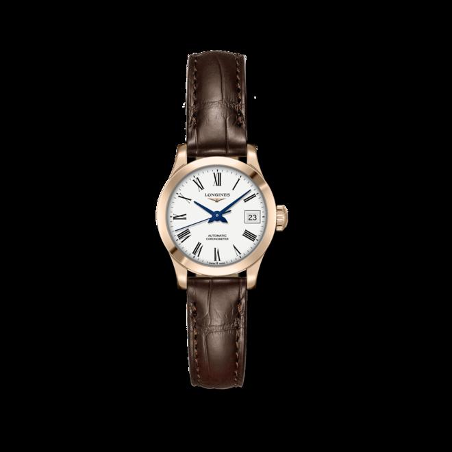 Damenuhr Longines Record Automatik Chronometer 26mm mit weißem Zifferblatt und Alligatorenleder-Armband bei Brogle