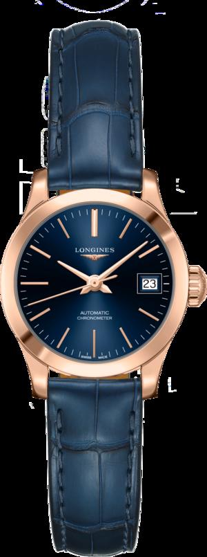 Damenuhr Longines Record Automatik Chronometer 26mm mit blauem Zifferblatt und Alligatorenleder-Armband