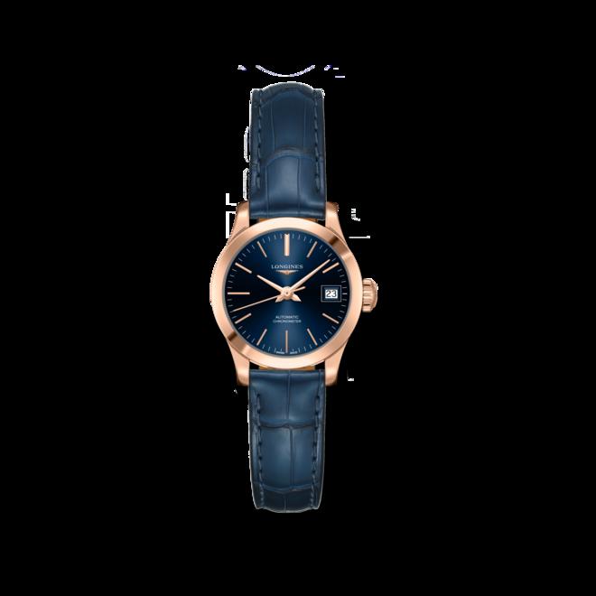 Damenuhr Longines Record Automatik Chronometer 26mm mit blauem Zifferblatt und Alligatorenleder-Armband bei Brogle