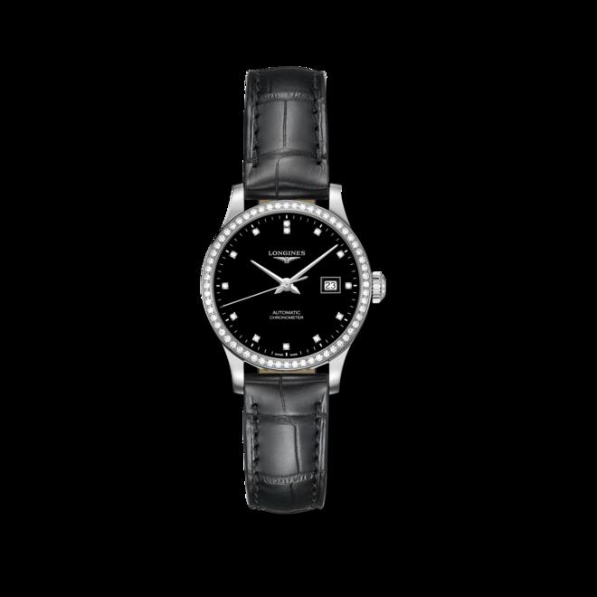 Damenuhr Longines Record Automatik Chronometer 30mm mit Diamanten, schwarzem Zifferblatt und Alligatorenleder-Armband bei Brogle