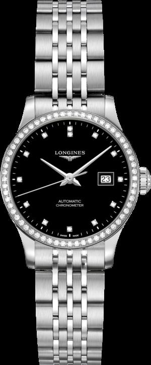 Damenuhr Longines Record Automatik Chronometer 30mm mit Diamanten, schwarzem Zifferblatt und Edelstahlarmband