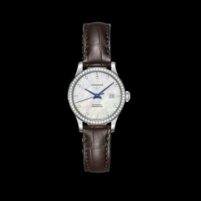 Damenuhr Longines Record Automatik Chronometer 30mm mit Diamanten, perlmuttfarbenem Zifferblatt und Kalbsleder-Armband bei Brogle