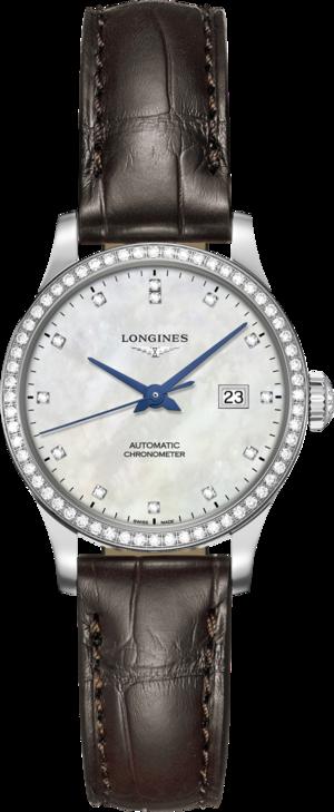 Damenuhr Longines Record Automatik Chronometer 30mm mit Diamanten, perlmuttfarbenem Zifferblatt und Kalbsleder-Armband