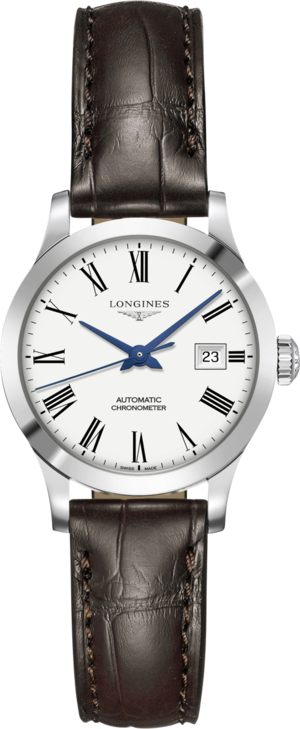 Damenuhr Longines Record Automatik Chronometer 30mm mit weißem Zifferblatt und Alligatorenleder-Armband