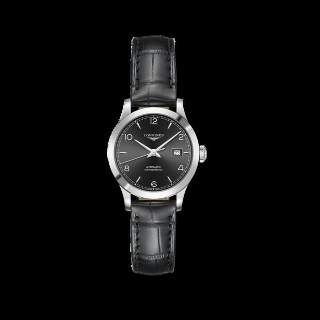 Damenuhr Longines Record Automatik Chronometer 30mm mit schwarzem Zifferblatt und Alligatorenleder-Armband bei Brogle
