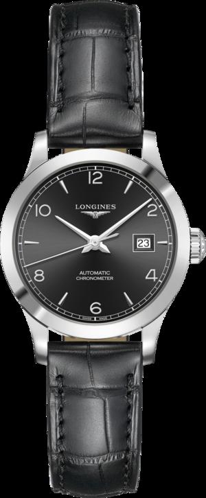 Damenuhr Longines Record Automatik Chronometer 30mm mit schwarzem Zifferblatt und Alligatorenleder-Armband