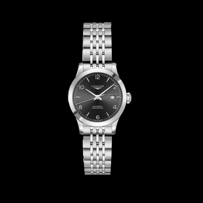 Damenuhr Longines Record Automatik Chronometer 30mm mit schwarzem Zifferblatt und Edelstahlarmband bei Brogle