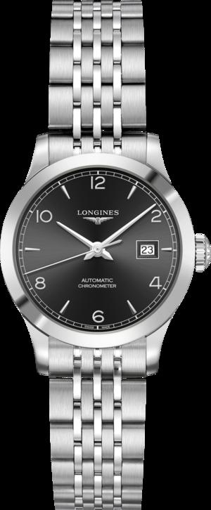 Damenuhr Longines Record Automatik Chronometer 30mm mit schwarzem Zifferblatt und Edelstahlarmband