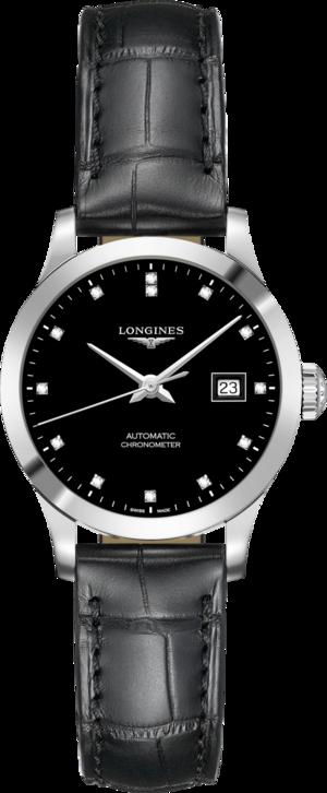Damenuhr Longines Record Automatik Chronometer 30mm mit Diamanten, schwarzem Zifferblatt und Alligatorenleder-Armband