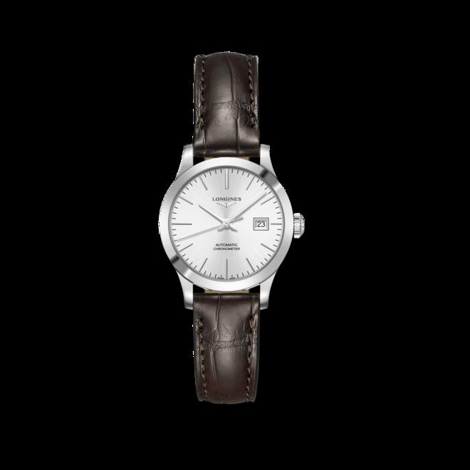 Damenuhr Longines Record Automatik Chronometer 30mm mit silberfarbenem Zifferblatt und Alligatorenleder-Armband bei Brogle