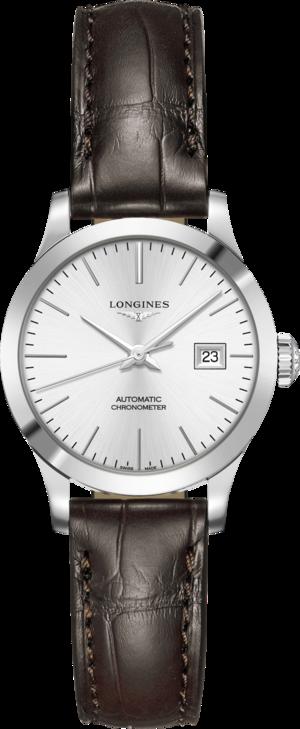 Damenuhr Longines Record Automatik Chronometer 30mm mit silberfarbenem Zifferblatt und Alligatorenleder-Armband