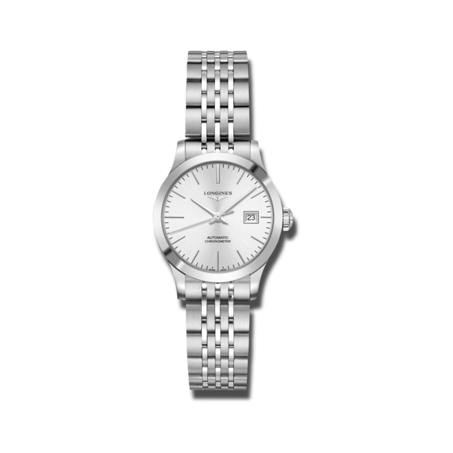 Damenuhr Longines Record Automatik Chronometer 30mm mit silberfarbenem Zifferblatt und Edelstahlarmband bei Brogle