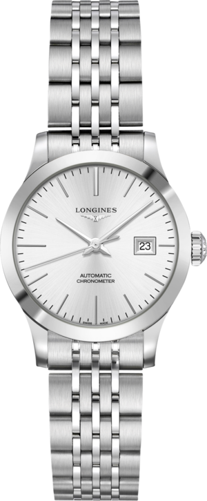 Damenuhr Longines Record Automatik Chronometer 30mm mit silberfarbenem Zifferblatt und Edelstahlarmband