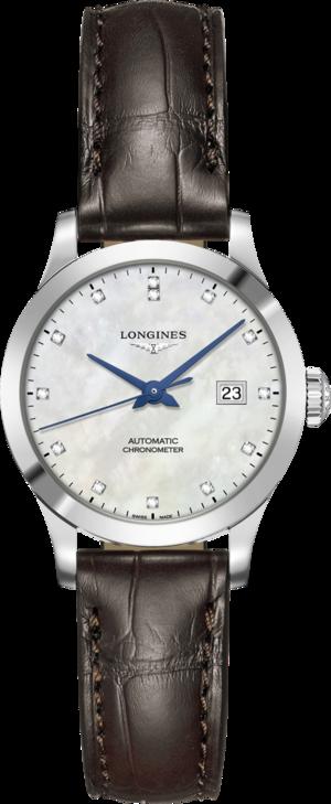 Damenuhr Longines Record Automatik Chronometer 30mm mit Diamanten, perlmuttfarbenem Zifferblatt und Alligatorenleder-Armband