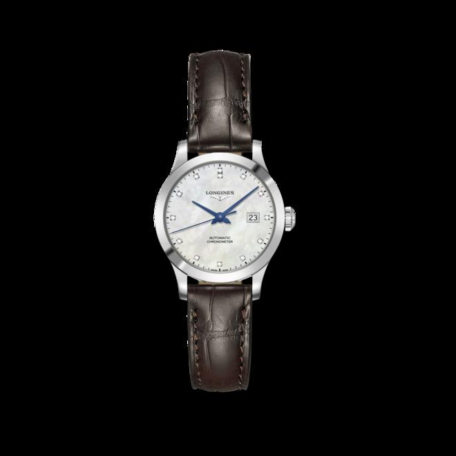 Damenuhr Longines Record Automatik Chronometer 30mm mit Diamanten, perlmuttfarbenem Zifferblatt und Alligatorenleder-Armband bei Brogle