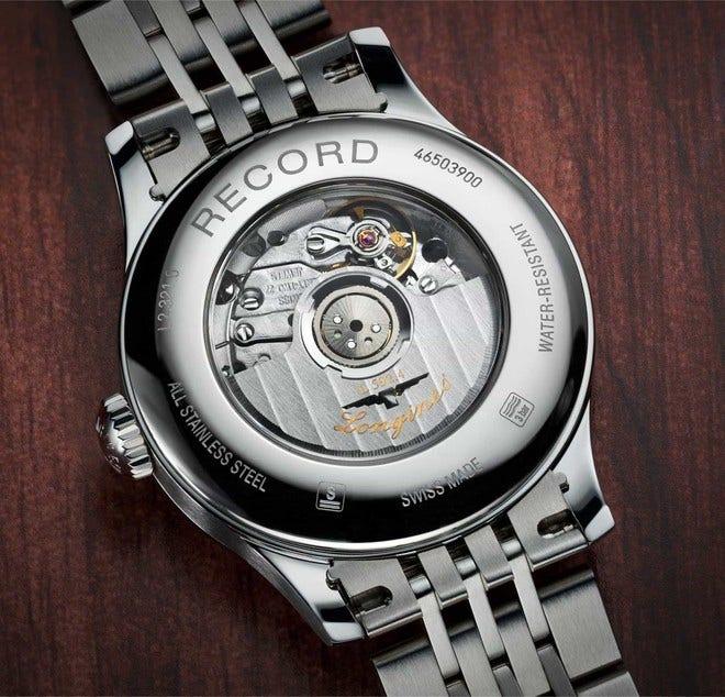 Damenuhr Longines Record Automatik Chronometer 30mm mit Diamanten, perlmuttfarbenem Zifferblatt und Edelstahlarmband bei Brogle