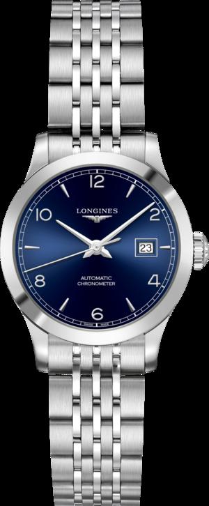 Damenuhr Longines Record Automatik Chronometer 30mm mit blauem Zifferblatt und Edelstahlarmband