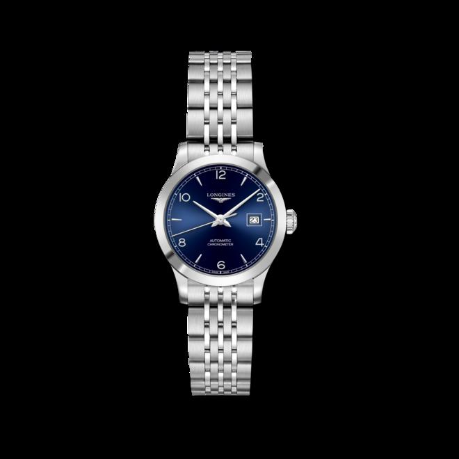 Damenuhr Longines Record Automatik Chronometer 30mm mit blauem Zifferblatt und Edelstahlarmband bei Brogle