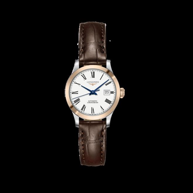 Damenuhr Longines Record Automatik Chronometer 30mm mit weißem Zifferblatt und Alligatorenleder-Armband bei Brogle