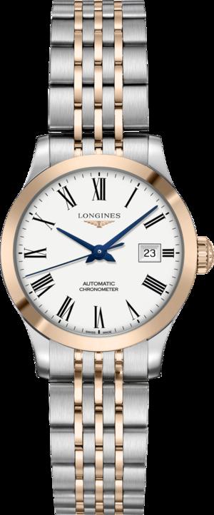 Damenuhr Longines Record Automatik Chronometer 30mm mit weißem Zifferblatt und Edelstahlarmband