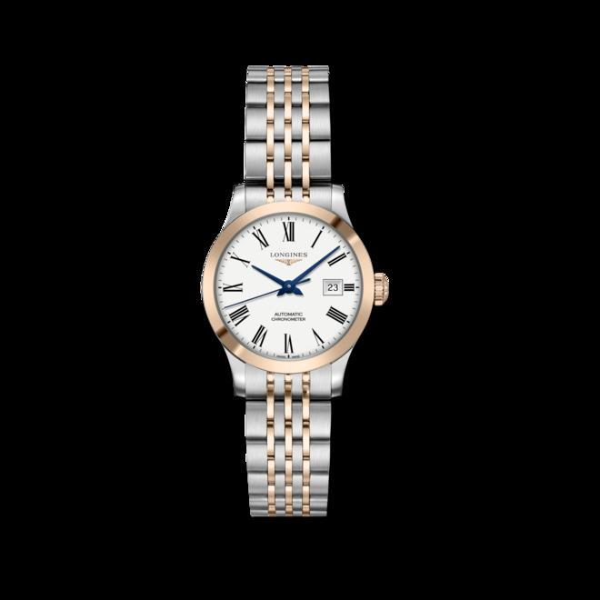 Damenuhr Longines Record Automatik Chronometer 30mm mit weißem Zifferblatt und Edelstahlarmband bei Brogle