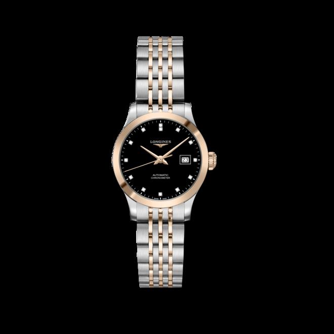 Damenuhr Longines Record Automatik Chronometer 30mm mit Diamanten, schwarzem Zifferblatt und Edelstahlarmband bei Brogle