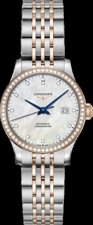 Damenuhr Longines Record Automatik Chronometer 30mm mit Diamanten, perlmuttfarbenem Zifferblatt und Edelstahlarmband