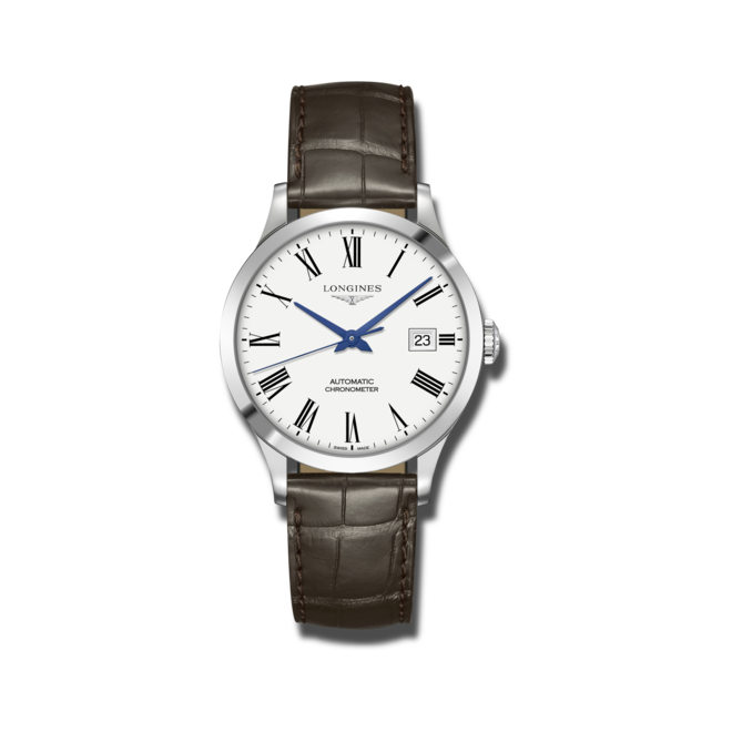 Armbanduhr Longines Record Automatik Chronometer 38,5mm mit weißem Zifferblatt und Alligatorenleder-Armband bei Brogle
