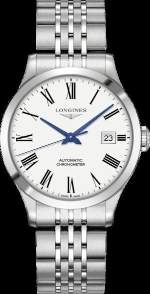 Armbanduhr Longines Record Automatik Chronometer 38,5mm mit weißem Zifferblatt und Edelstahlarmband