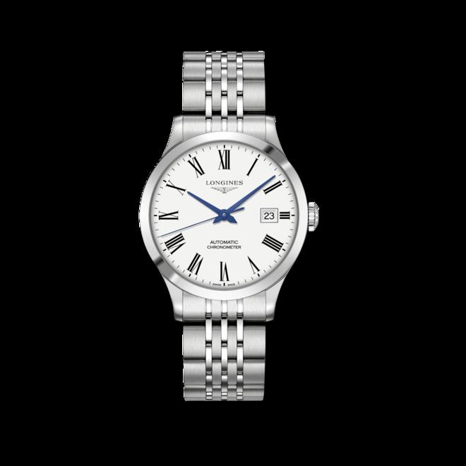 Armbanduhr Longines Record Automatik Chronometer 38,5mm mit weißem Zifferblatt und Edelstahlarmband bei Brogle