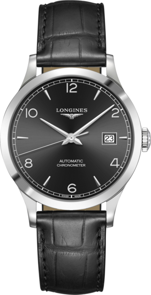 Armbanduhr Longines Record Automatik Chronometer 38,5mm mit schwarzem Zifferblatt und Alligatorenleder-Armband