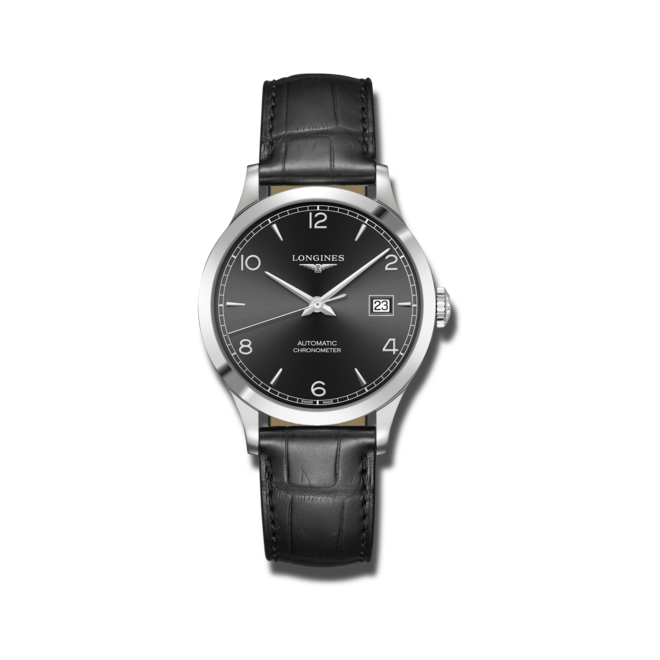 Armbanduhr Longines Record Automatik Chronometer 38,5mm mit schwarzem Zifferblatt und Alligatorenleder-Armband bei Brogle