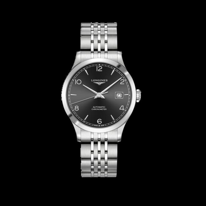 Armbanduhr Longines Record Automatik Chronometer 38,5mm mit schwarzem Zifferblatt und Edelstahlarmband bei Brogle