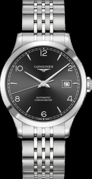 Armbanduhr Longines Record Automatik Chronometer 38,5mm mit schwarzem Zifferblatt und Edelstahlarmband