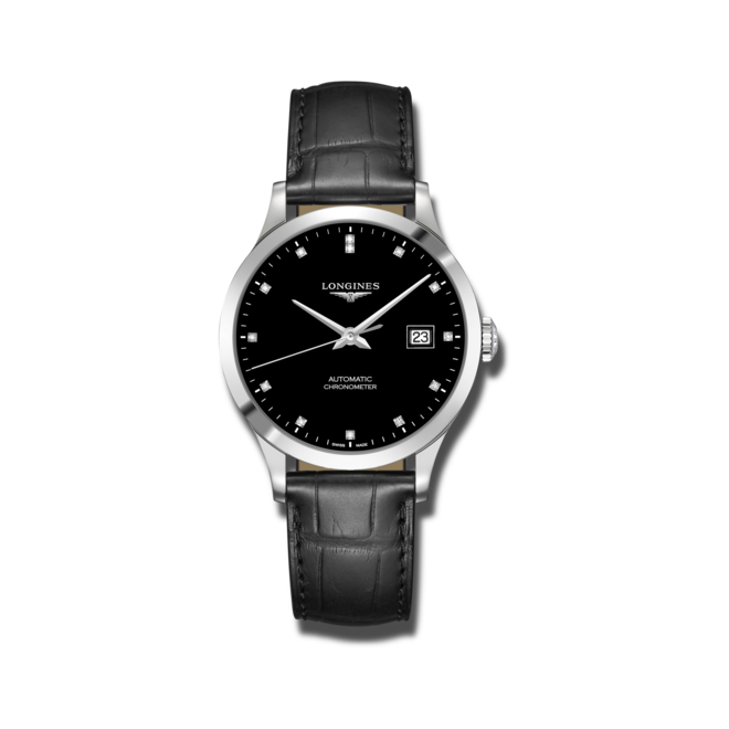 Armbanduhr Longines Record Automatik Chronometer 38,5mm mit Diamanten, schwarzem Zifferblatt und Alligatorenleder-Armband bei Brogle