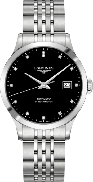 Armbanduhr Longines Record Automatik Chronometer 38,5mm mit Diamanten, schwarzem Zifferblatt und Edelstahlarmband