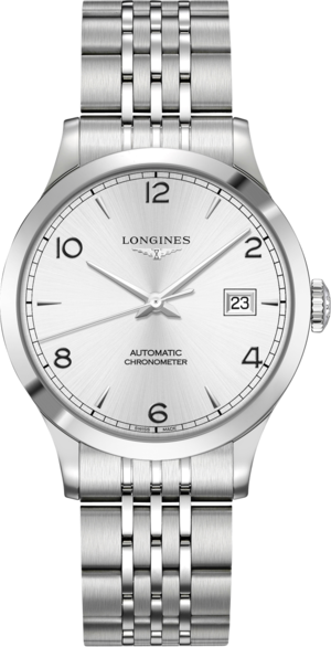 Armbanduhr Longines Record Automatik Chronometer 38,5mm mit silberfarbenem Zifferblatt und Edelstahlarmband