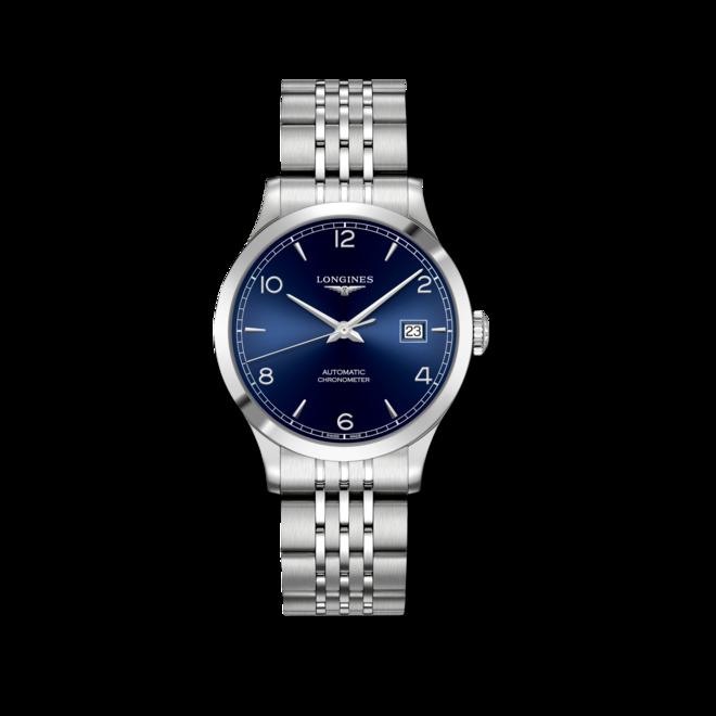 Armbanduhr Longines Record Automatik Chronometer 38,5mm mit blauem Zifferblatt und Edelstahlarmband bei Brogle