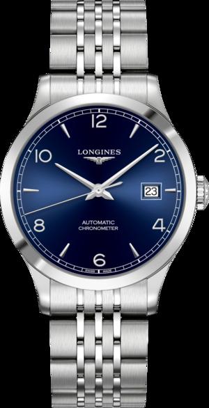 Armbanduhr Longines Record Automatik Chronometer 38,5mm mit blauem Zifferblatt und Edelstahlarmband