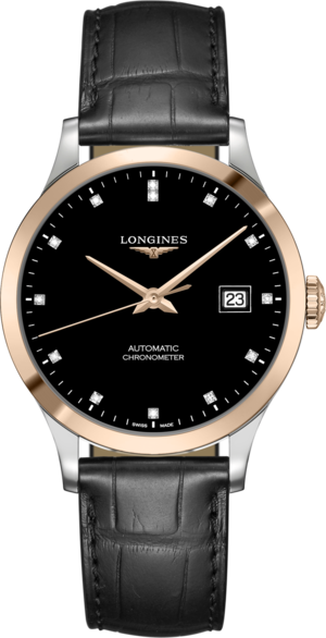 Armbanduhr Longines Record Automatik Chronometer 38,5mm mit Diamanten, schwarzem Zifferblatt und Alligatorenleder-Armband